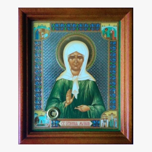 Икона святой Матроны с мощевиком, частица гроба