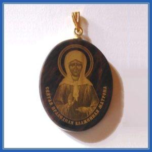 Медальон из обсидиана, святая Матрона Московская